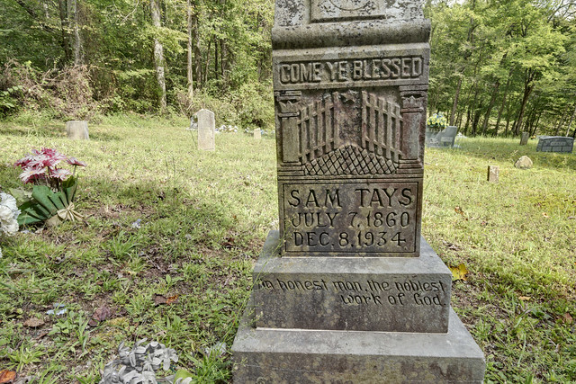 Sam Tays grave, Henry Cemetery, Putnam County, Tennessee
