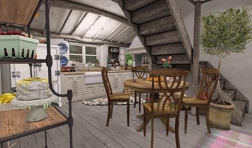 Farmhouse Dining Room_View of Kitchen | by Hidden Gems in Second Life (Interior Designer)
