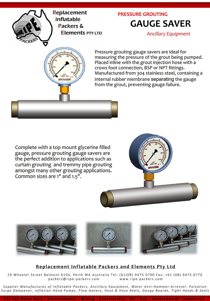 Pressure Grouting Gauge Saver | RIPE Inflatable Packers is a