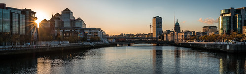 color calm print reflection orange outside photography sky wallart fineart canvas prints sunset ireland skyline european depth architecture gold quays view liffey clouds photo sun urban photograph tranquil cityscape travel water bridges dublin colors horizontal river europe brigde yellow onsale