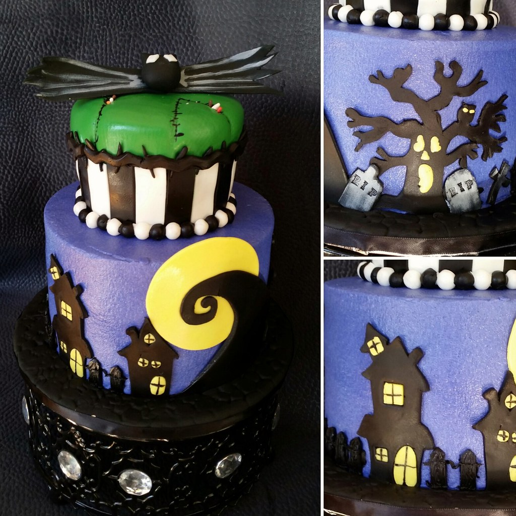 A Nightmare Before Christmas Themed Birthday Cake Detail