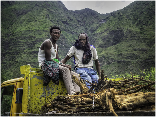 ethiopia freeride hitchhike man mountain truck wood yellow northwello amhara