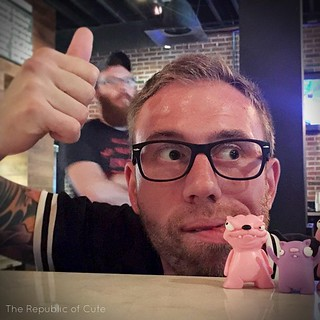 Pink Pet and Buck got a paw workout playing games at @16bitbar ! They made many friends, including Mike of @citiesandcoasts -- who will also be performing at @clevelandmagazine 's Best of Cleveland Party! Thanks for the photo, Mike! We'll see you on Octob | by Karly West