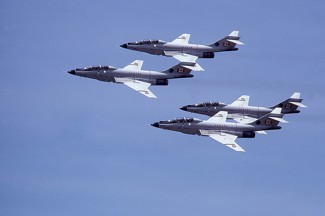 Canadian Armed Forces CF 101's in formation.