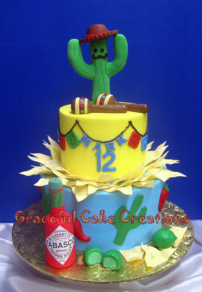 Astounding Mexican Fiesta Birthday Cake Grace Tari Flickr Personalised Birthday Cards Beptaeletsinfo