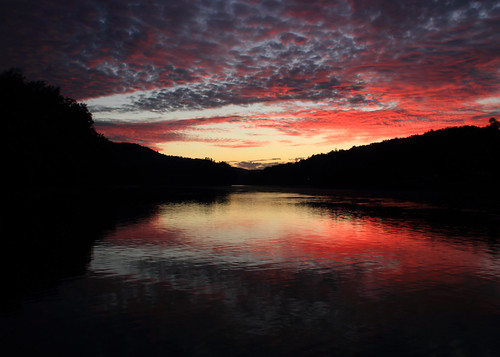 blue red reflection water clouds river evening dusk pennsylvania pa allegheny tidioute nwpa pawilds