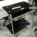 Black glass PC desk