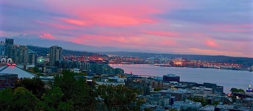 seattle sunset panorama lights cityscape lakes