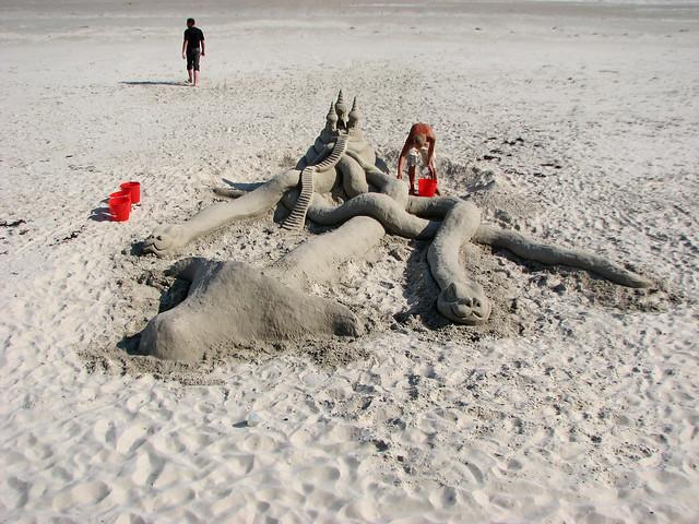 Sand sculpture at St Aubin, Jersey