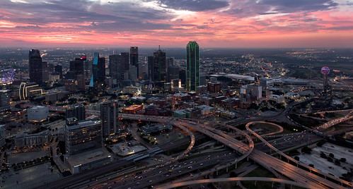 city morning travel usa horizontal skyline clouds sunrise buildings photography us dallas downtown cityscape texas unitedstates visit helicopter transit bankofamerica highways rushhour reuniontower