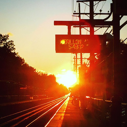 sunset train square october squareformat clarendon lirr commutertrain gardencity 2015 gardencitypark merillonave iphoneography instagramapp