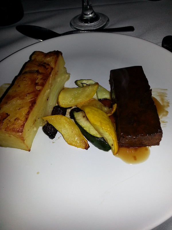 Beef and Diamond Cut Courgettes, Dauphinoise Potatoes