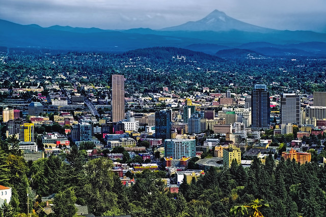 View of the skyline of Portland, Oregon, U.S.A. along with Mount Hood in the distance