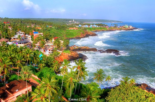 sea sky lighthouse india colour beach landscape landscapes nikon rocks waves view indian kerala palmtrees colourful hdr kovalam kovalambeach