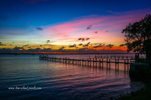sun sunrise colorful lagoon indianriver indianriverlagoon pier horizon tree clouds cloudy sky nature mothernature landscape seascape outdoors outside jensenbeach florida usa