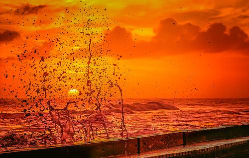 alabama dauphinisland gulfcoast thansgiving crash evening splash spray sun sunset surf water waves usa fav10