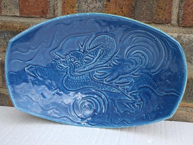 Kitsch Cool Mid Century Modern 1960's Rimini Blue Dragon Bowl Made In Italy ..Italian Pottery