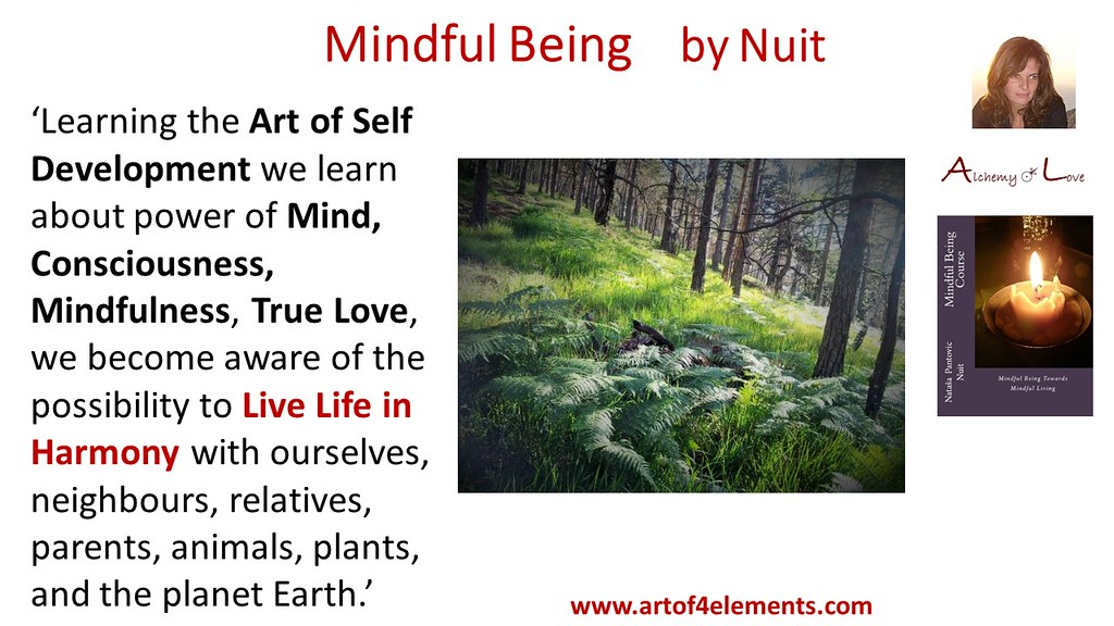 Mindful Being quote by Nataša Pantović Learning the Art of Self Development