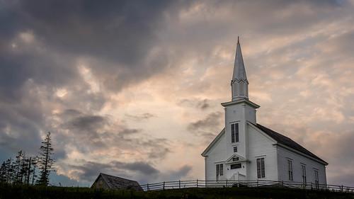 capebreton brasdorlakestrail highlandvillagemuseum novascotia church sunset