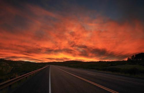 light sunset red sky clouds san colorado juan route 62 ridgway skyway