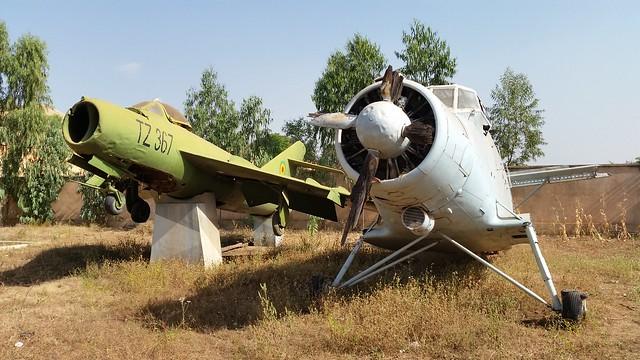 MiG-17F TZ-367 & An-2 TZ-W12 ex Mali-AF. Preserved Bamako-city. Musee de 'l Armee. November 2014.