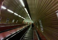 Praha underground escalator