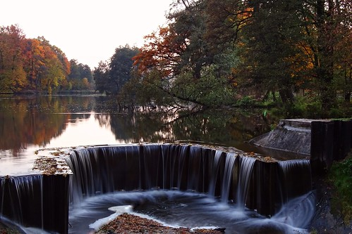 longexposure autumn trees fall nature water reflections landscape waterfall pond colours view poland polska rochna