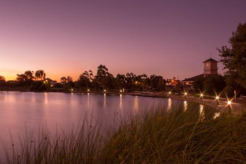 sunset lake water landscape australia victoria carolinesprings