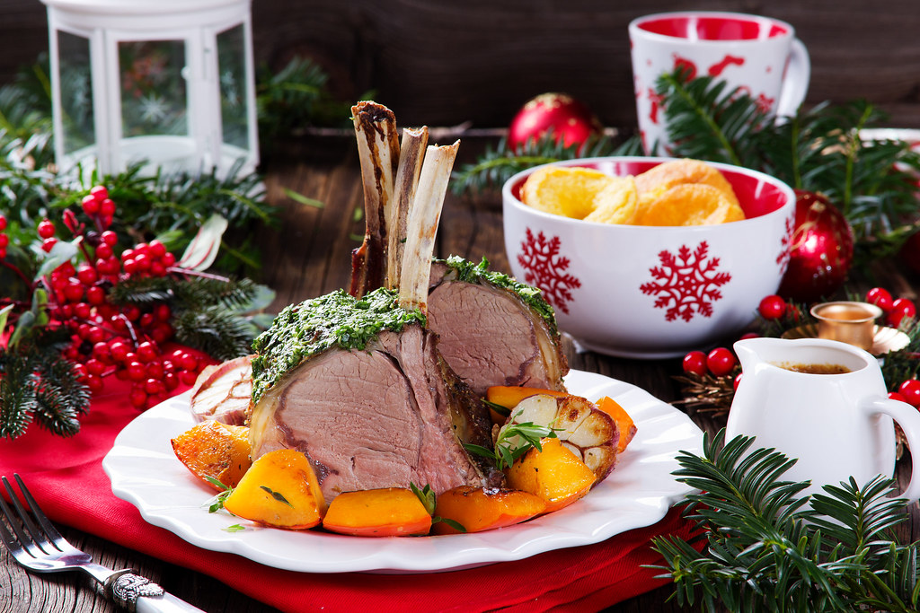 Christmas Roast Beef.Christmas Roast Beef With Yorkshire Pudding And Roasted Ve