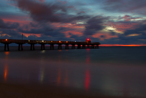 pier dock fishing sunrise dawn daybreak landscape seascape sky clouds ocean pompanobeach florida longexposure le landscapes