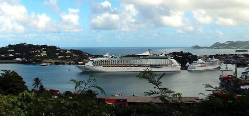 ocean cruise blue sky cloud st port silver island whisper ship view royal sunny panoramic line adventure international cumulus lucia caribbean stlucia seas rcl aos rccl adventureoftheseas castries konomark