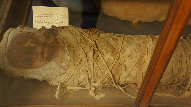 A mummy of a little girl from Fayoum at the Egyptian Museum of Cairo