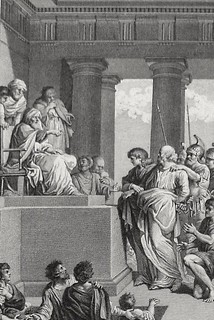 Luke in the Phillip Medhurst Collection 594 The Jews are offended by Peter's preaching Acts 4:1-12 Marillier