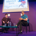 Keith Partridge chats to Chair Sheena McDonald | Extreme photographer Keith Partridge, chats to Chair Sheena McDonald at the Book Festival © Alan McCredie