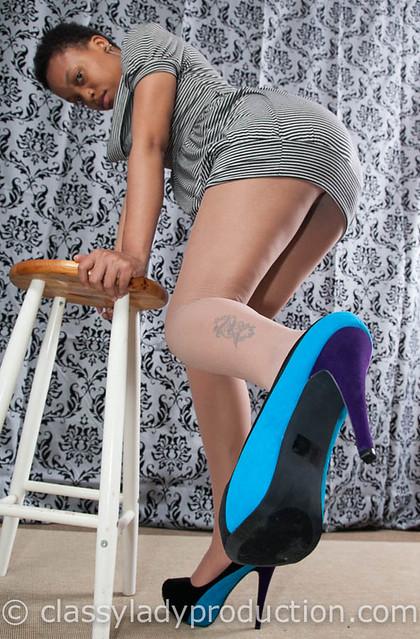 blue stilettos  upskirt