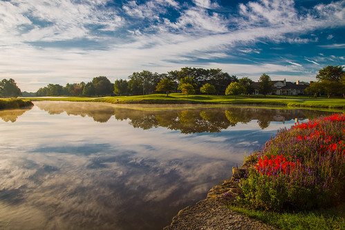 morning flowers sky reflection water clouds sunrise golfcourse hdr canonef24105mmf4lisusm 7thhole canoneos6d autumn2015 arboretumclub