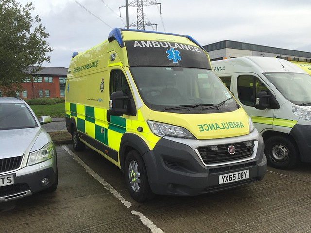 What has turned out to be a unique vehicle waiting to enter service with Yorkshire Ambulance Service is YX65DBY Fiat Ducato with a WAS Emergency Ambulance Conversion. Seen at YAS Fleet Centre near Wakefield 14/11/2015