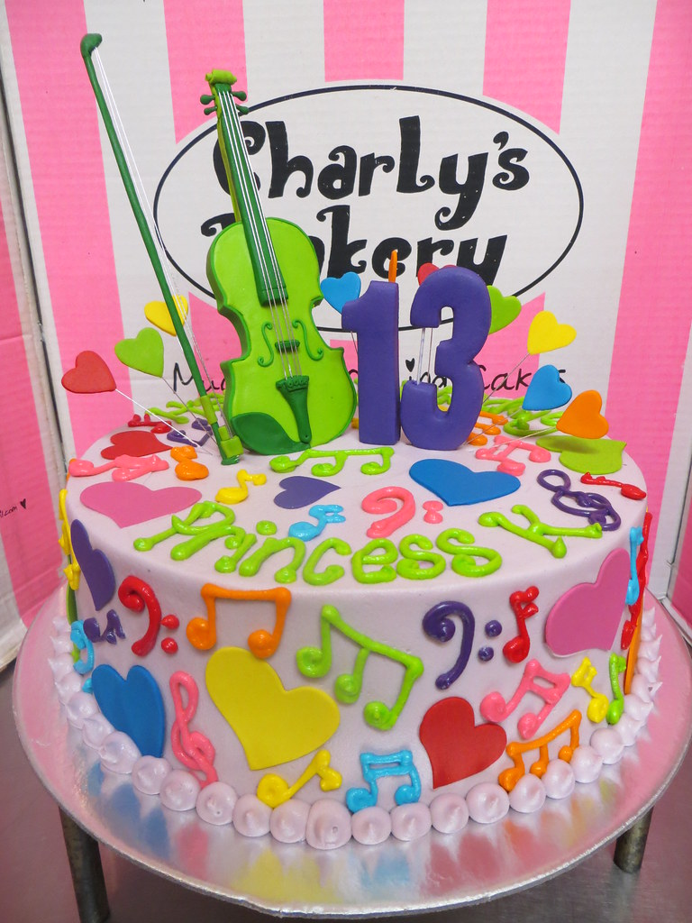 Admirable Music Themed Birthday Cake With 2D Violin Topper Musical Flickr Funny Birthday Cards Online Alyptdamsfinfo