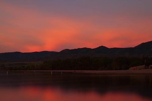 landscape lakes cape seascape le longexposure lake water reflections sunrise dawn daybreak clouds mountains hills lakechatfield colorado landscapes