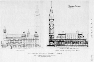 New Centre Block, Parliament Buildings, Ottawa, showing west elevation, section through tower and Court of Honour / Le nouvel édifice du Centre du Parlement, à Ottawa; façade ouest de la section allant de la tour à la cour d'honneur
