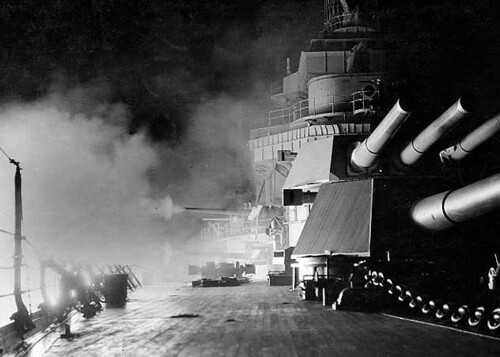 USS California, BB-44 5-51 guns - night battle practice in 1933  # 55030