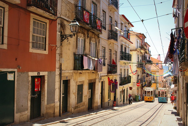 Tram and streets of Lisbon