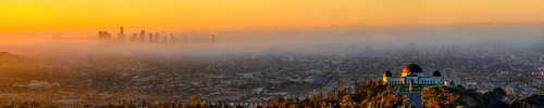 california panorama orange fog skyline clouds sunrise us losangeles cityscape unitedstates panoramic socal griffithpark griffithobservatory dtla