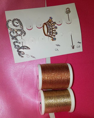 Pink sash choices, brooch choices, & metallic gold choices. www.Etsy.com/shop/stitchcottage www.stitchcottage.com | by Stitchcottage