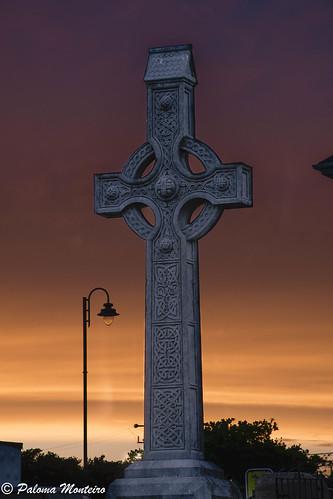 aranislands sunset celtic cross ireland aran islands