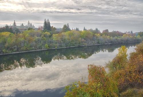 yellow americanriver sacramento california state university river fog clouds autumn fall water