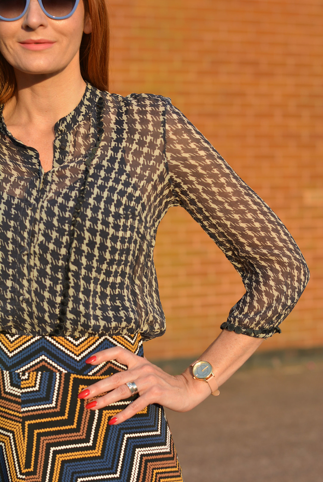 Pattern mixing | Sheer vintage blouse, chevron midi skirt | Not Dressed As Lamb