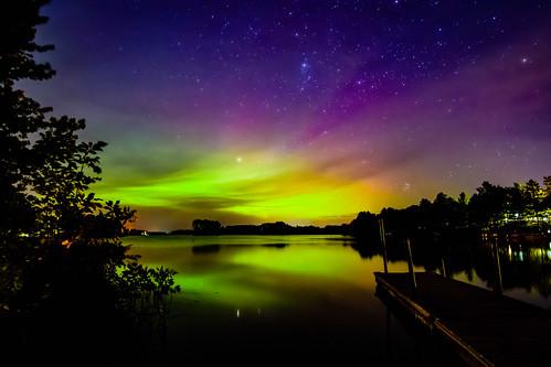 lake minnesota clouds stars landscape us dock nikon unitedstates astrophotography northernlights auroraborealis mora knifelake d7200