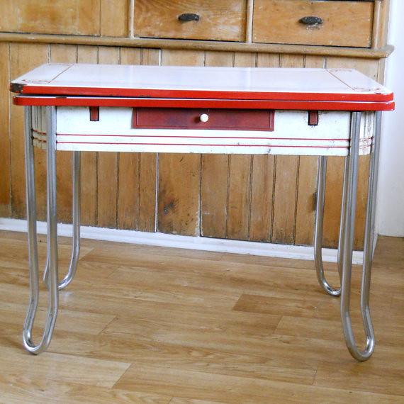 Vintage Enamel Top Kitchen Table | Vintage Enamel Top Table ...