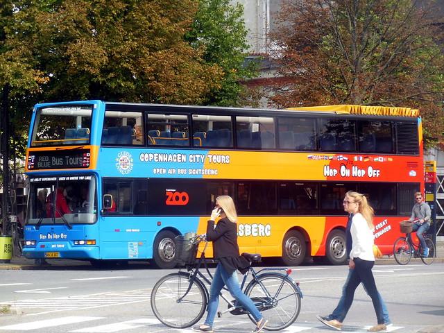 Copenhagen girls + bikes #2 with 2001 Volvo B7LT Red Blue tours with extra orange stripes added